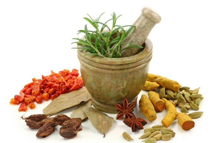 Spices and Medicines with a mortar and pestle