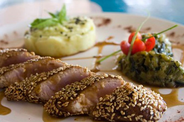 Sesame-Crusted Tuna Fillet at La Plage, Goa