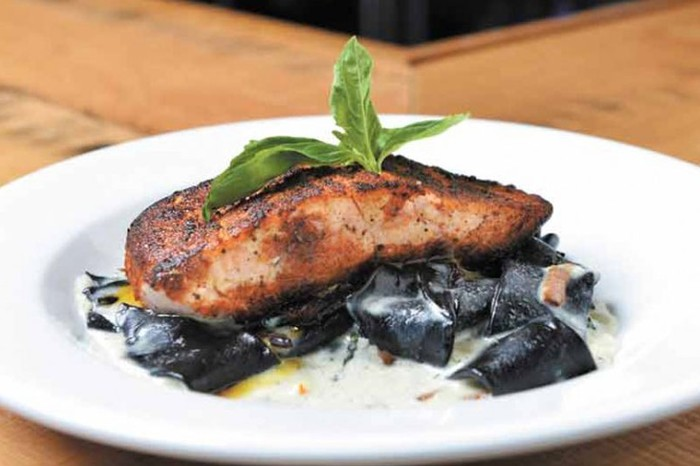 Squid Ink Pasta with Salmon at Ciao Bella
