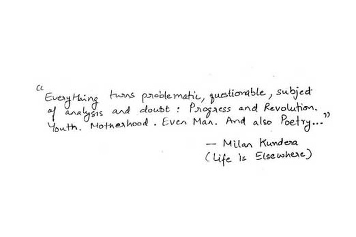 Quote by Milan Kundera.