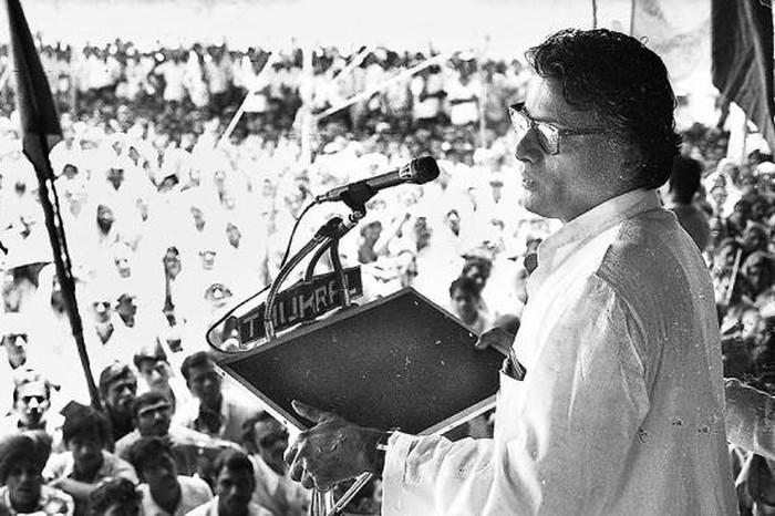 George Fernandes, then Union Minister for Industry, addresses railway employees in New Delhi in May, 1979. - sought CIA funding (the hinduarticle)