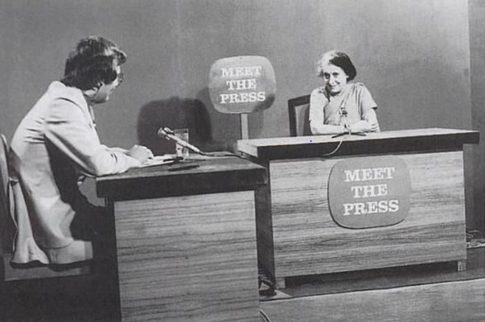 Press interview of Indira Gandhi arranged by the National Broadcasting Corporation, 20 August 1975. PD-PIB, New Delhi