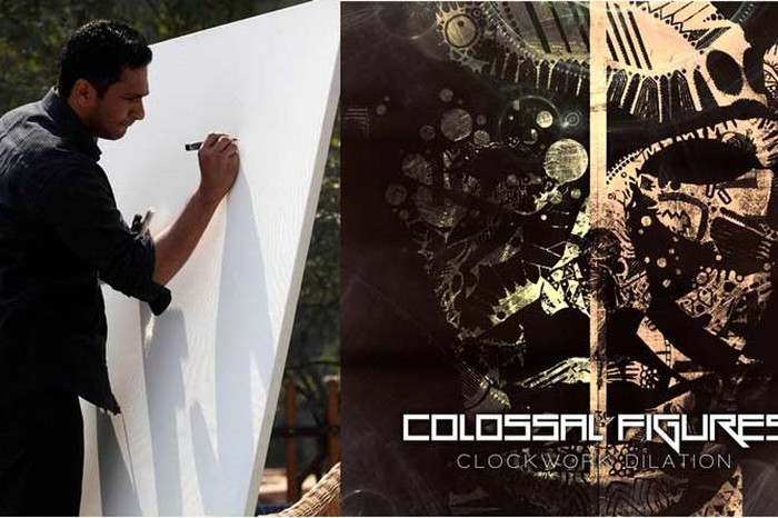 Akash Anand (left), Colossal Figure's Album Artwork by Anup Sastry and Aakash Anand collaboration (right)