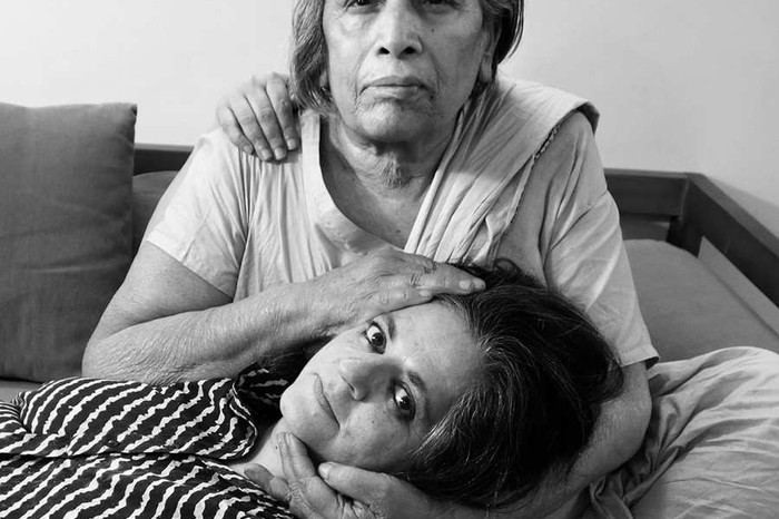 Nixi became Dayanita Singh, the photographer, here on the lap of her favourite Mona Ahmed, New Delhi. 2013. Image from The Archivist by Nony Singh, published by Dreamvilla Productions. Photo © Dayanita Singh