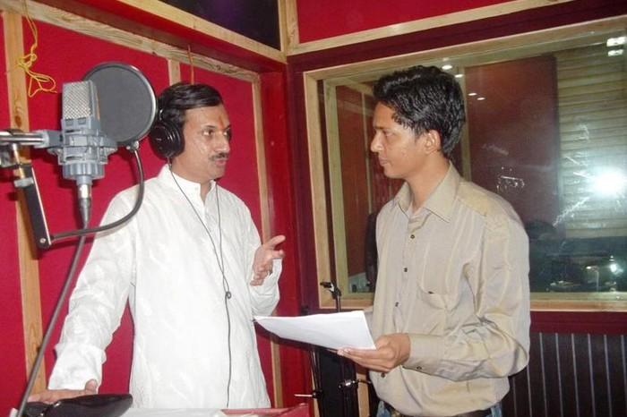 Manvendra Singh Gohil and KR Devmani During The Recording of The Film. Image Source: Meghdhanushya
