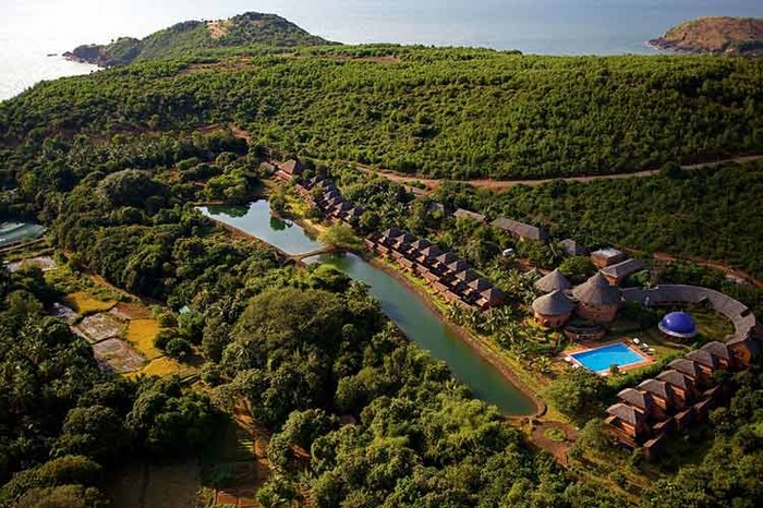 An aerial view of the SwaSwara resort. Image Source: www.swaswara.com