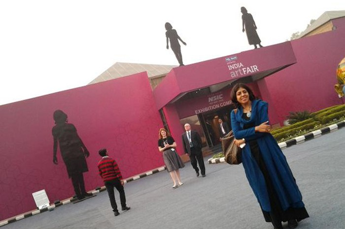 Artist Leena Kejriwal in front of her installations  Photographed by Shailaja Tripathi source hindu