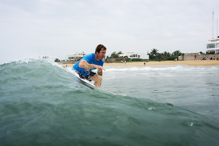 Jonty Rhodes sneaking a wave at the Classic Surf Contest held at Covelong Point, Chennai.