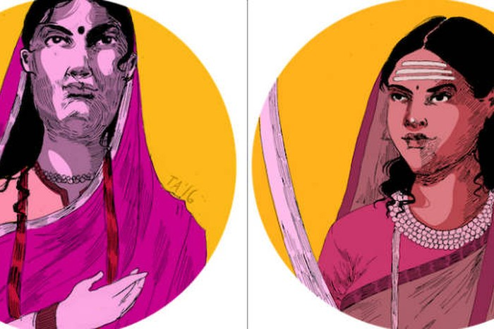 Ahilya Bai Holkar (left) became queen of the Maratha ruled Malwa kingdom once her husband and father in law both died. She personally lead armies into battles against plundering Mughal rulers and is greatly revered because the era of her reign was known as one of prosperity and order. Rani Chennamma of Kittur (right), one of the first female Indian rulers to lead an armed rebellion against the British in 1824. Image and caption credit: Tara Anand