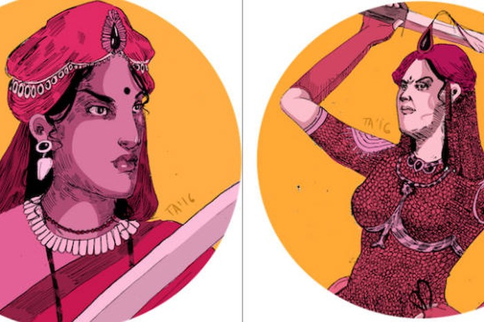 Trained in Warcraft as a child Rani Velu Nachiyar of Sivaganga (left) ruled her kingdom for over a decade after her husband was killed by the British. She lead her kingdom's army in numerous battles against colonial powers in the 17 hundreds and even formed a special