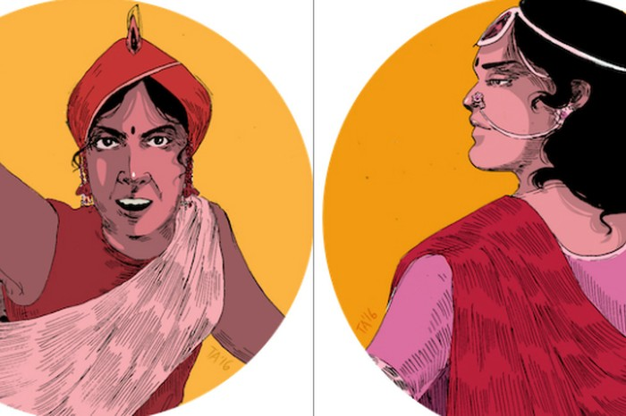 Rani Laxmi Bai (left) was an Indian queen who is best known for forming and commandeering an army against the British in an effort to defend her kingdom of Jhansi. She also lead another military campaign against the forces of Orchha and Datia and took over the administration of the kingdom after her husband died. Rani Abbakka Chowta of Ullal (right) was India's first female freedom fighter, she defended her kingdom against Portuguese invasion for four decades in the 16th Century. Image and caption credit: Tara Anand
