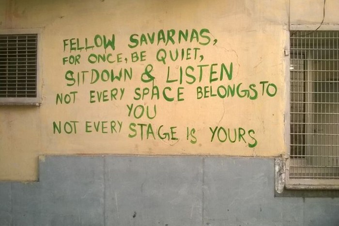 Graffiti at Ambedkar University: Image Courtesy: Pinjra Tod/ Facebook
