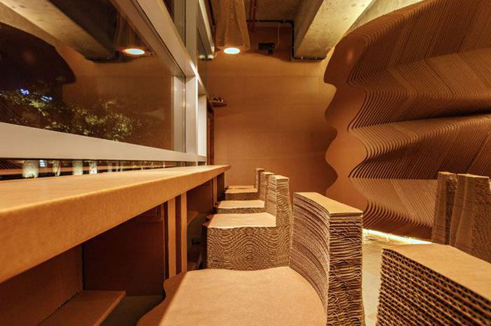 Interiors Made Entirely Out Of Recyclable Cardboard At This