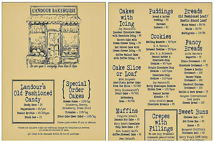 The tempting menu of Landour Bakehouse