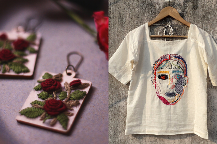 Maroon Rose textile earring with wooden backing, hand embroidered women's face in different colors on white shirt from Onushshar