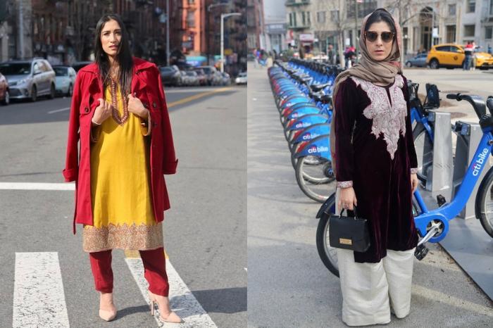 Kashmiri women in New York Street wearing traditional attire