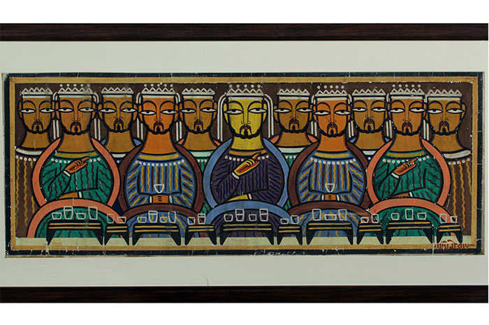 From Paul's collection -- A reinterpretation of the biblical theme of last supper by one of the pioneers of Indian Modern Art - Jamini Roy. Made in the 20th century. Technique: Watercolour on canvas