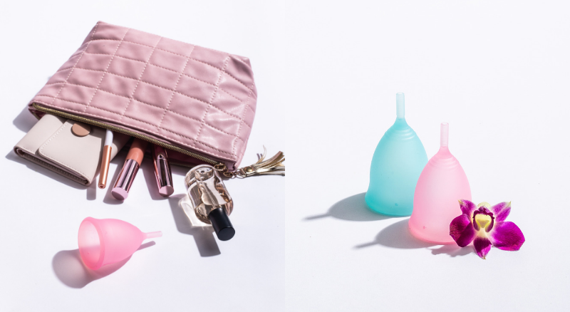 women toiletry kit with pink menstrual cup, pink and blue menstrual cups from Gaaia indian brand