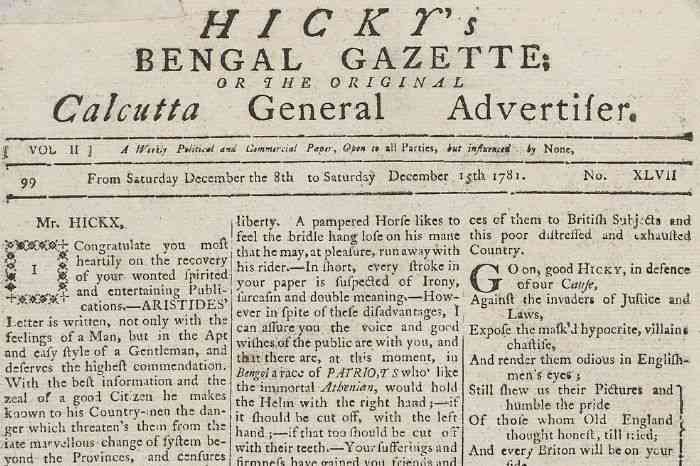 Original scan of India's first english newspaper bengal gazette or calcutta general advertiser