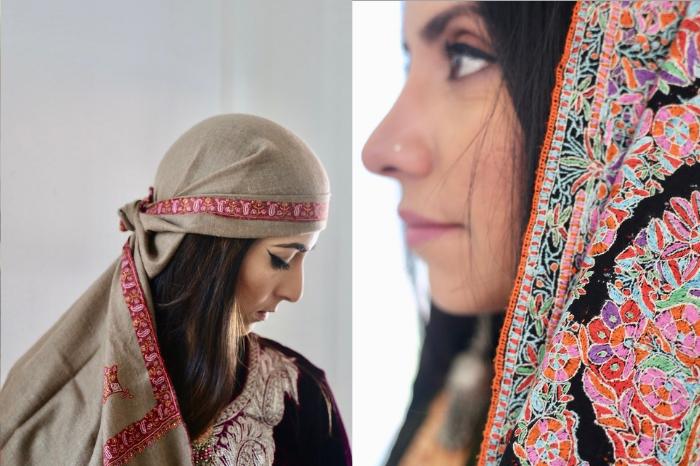 Kashmiri women wearing pashmina and jamawar shawls