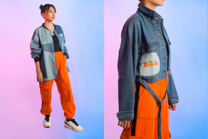 Woman wearing blue and orange denim outfit from streetwear brand SIX5SIX