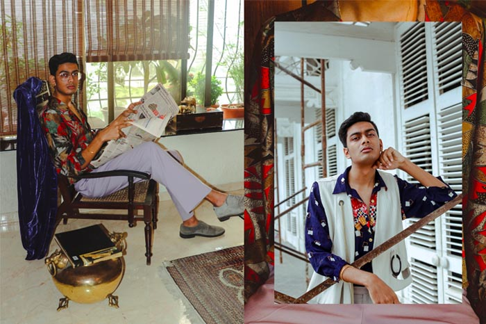L-R: Devbhuj (shirt1 & shirt 2: Red Empress; pants: No Borders; jacket on chair: Dries Van Noten; waistcoat & pants 2: No Borders; jewellery: Kichu). Photographed by Samrat Nagar (Instagram: @samrat.02)