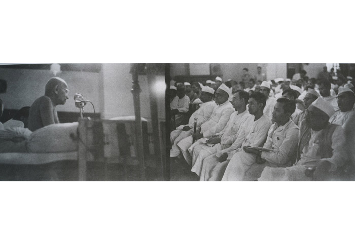 Gandhi addressing delegates of the AICC on June 2nd, 1947. Image Source: Homai Vyarawalla Archives, Alkazi Collection of Photography