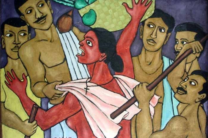 Caste lords, specifically Nair Pattalam and Savarna goons violating the honour of Avarna women in public: Channar Woman by Chitrakaran T Murali.