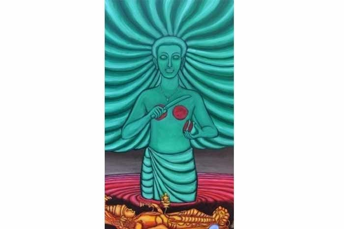 Digital painting by Ajay Sekhar, representative of Nangeli's sacrifice.