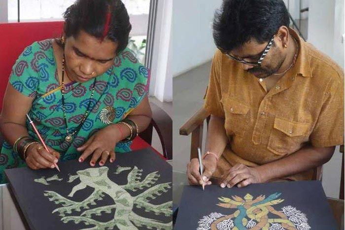 Artist Durga Bai (left) and artist Bhajju Shyam (right)