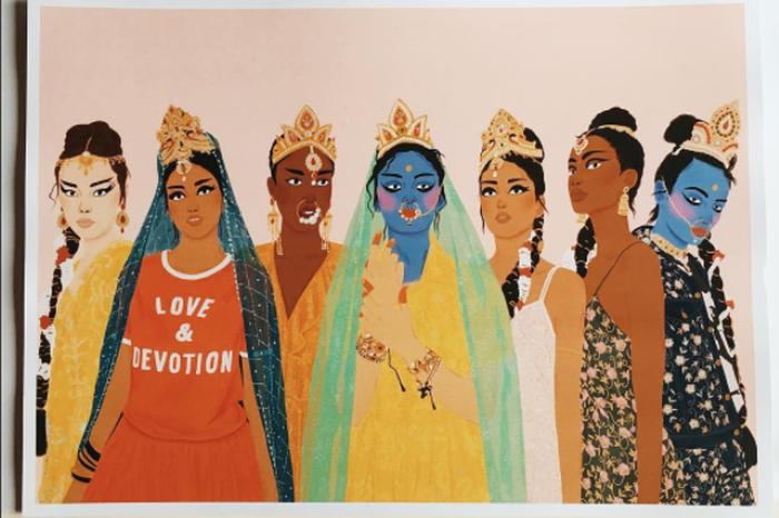 Manjit's artwork for designer Ashish's Spring-Summer collection '17