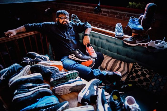 Dharmesh with his collection of Airmaxes