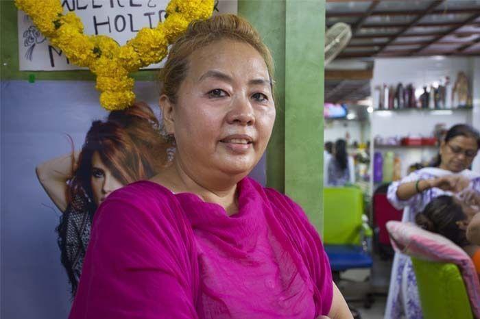 Betty Yah in her beauty parlour. Photo by: Rashi Arora