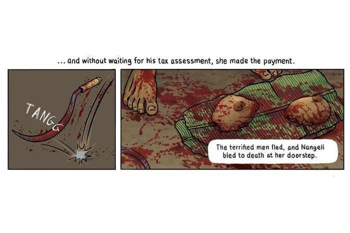 A panel from 'A Travancore Tale' by Orijit sen, courtesy of the artist via Guftugu