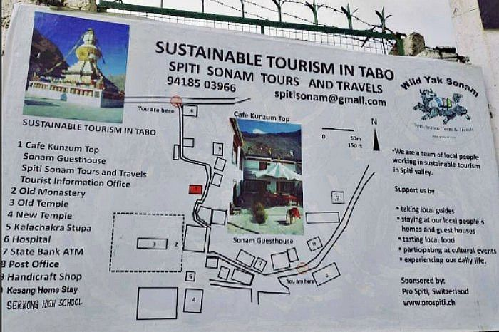 A poster outside the Tabo Monastery