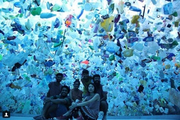 Team Behind the Art Installation Of Plastic Ocean. Image Source: Instagram/Tan Zi Xi