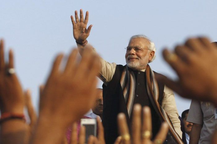 Modi being hailed by his Bhakts. Image Source: The Wire