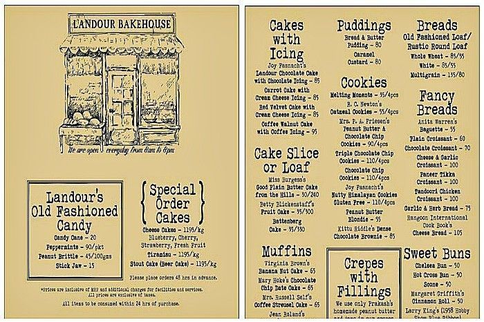 The menu at Landour Bakehouse