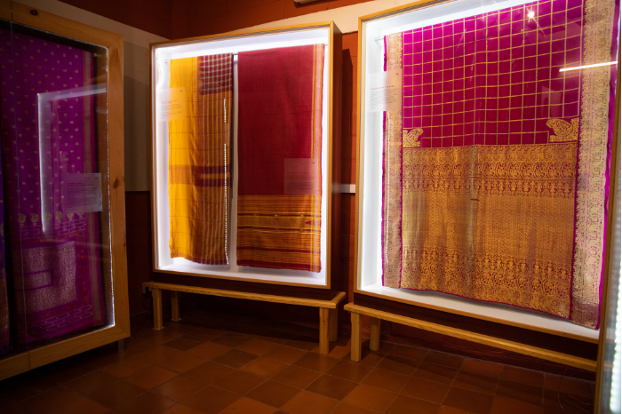 Various types of indian saree and textiles at Vimor museum of living textiles