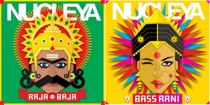 Airphish's visuals for Nucleya. Raja Baja (L) and Bass Rani (R)