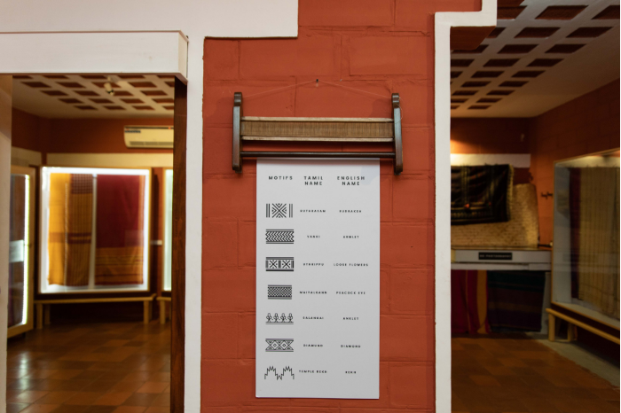 An educational board with information on various traditional motifs on textile at Vimor Living textile museum Bangalore