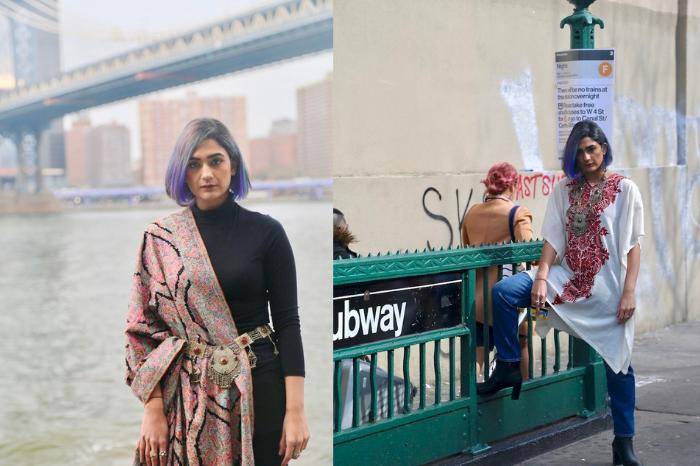 Kashmiri woman in New York Street wearing traditional attire