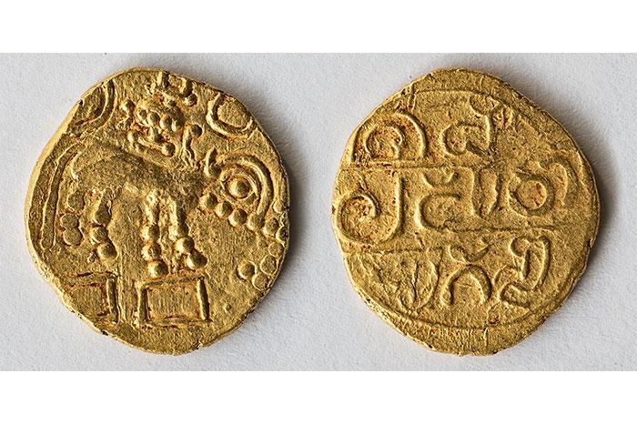 "From Paul's collection -- 10th century Gold Pagoda issued by Vinayaditya Hoysala. s a fine and rare specimen. The reverse has the inscription ""Sri Malaparo Lugonda"" which translates to ""Lord of Malpad Janapada"","