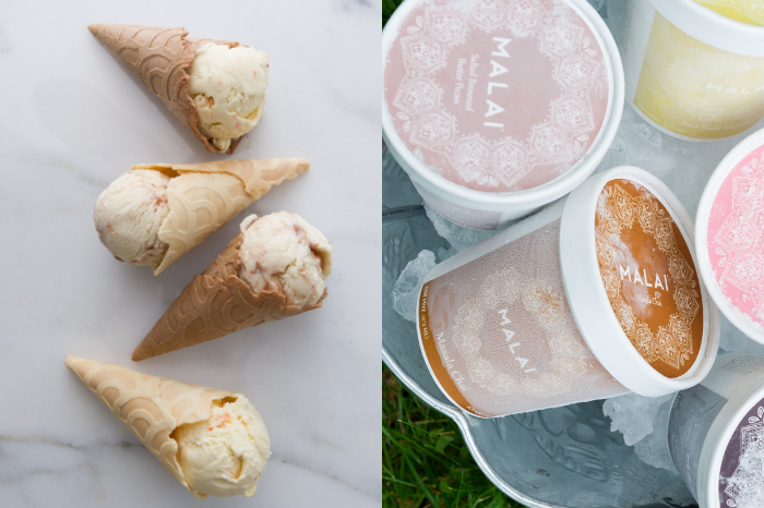 Ice cream cones and ice cream pints from Malai New York