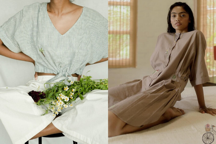 Woman wearing SUI striped crop top and white pants with wildflowers in lap, woman wearing brown SUI dress leaning back on bed