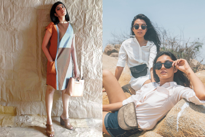 Woman wearing geometric printed shift dress from Patch over patch, Women wearing shorts and white shirt with black sunglasses and wearing Inai bags