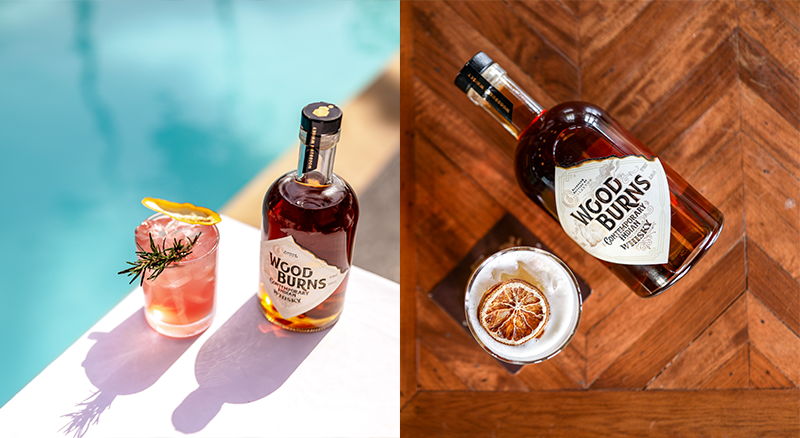 cocktail by the pool with wood burns whisky