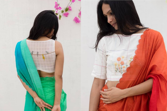 Saree in orange and red and blue and green paired with white embroidered high neck blouse from studio bhang