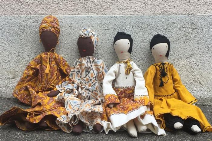 Silaiwali rag dolls made from cotton waste fabric wearing colorful traditional attire