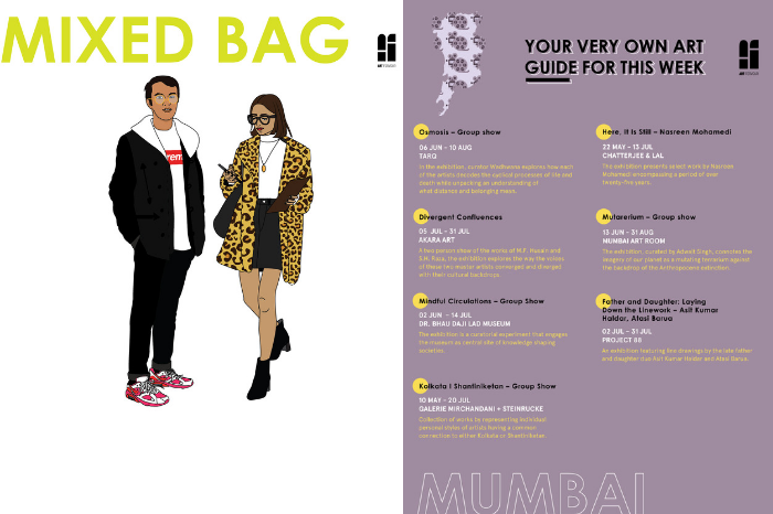 Poster with art events in mumbai with digital illustration of fashionable couple
